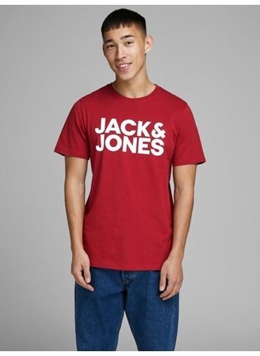 Jack & Jones Tişört Corp Logo Ss O Neck 12151955-Wht Kırmızı
